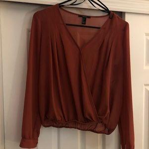 Burnt orange sheer blouse